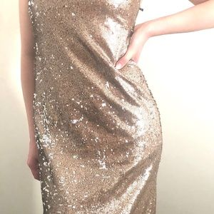 Full length sparkly champagne dress